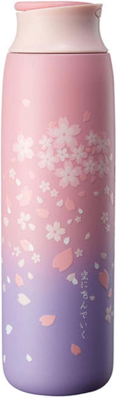 Heli Termo portátil de Estilo japonés Sakura, Taza de café de Viaje, Taza aislada, Frasco de vacío de Acero Inoxidable, Botellas de Agua para niñas