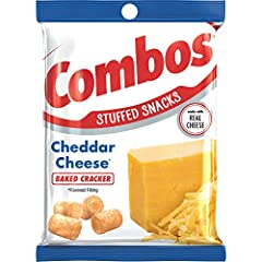 Contains twelve (12) 6.3 ounce bags of COMBOS Cheddar Cheese Cracker Baked Snacks Made with Real Cheese A satisfying and delicious on the go snack Each individual serving contains 140 calories per serving The world is full of combinations, like crack...