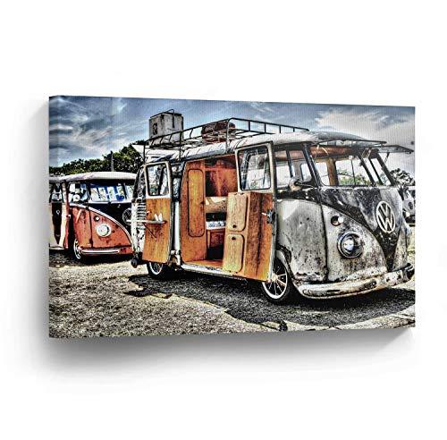 cwb2jcwb2jcwb2j Canvas Print Klassieke Volkswagen Van Home Decor Camper Oude Vintage Bus Wall Art Gallery Ingelijst Canvas Klaar om op te hangen