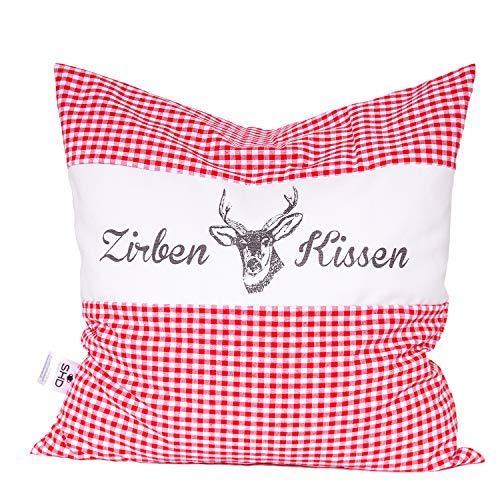 SHD Zirbenkissen 40x40 cm rot-weiß kariert | natürlich duftend | Hirschprint | Vichy rot (Rot Kariert)