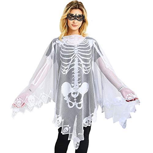 Skeleton Lace Poncho Women Halloween Costume Skull Bone Masquerade Cape White
