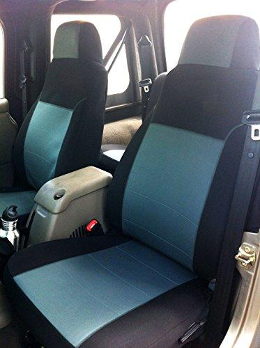 GEARFLAG Neoprene Seat Cover Custom fits Wrangler TJ / LJ 2003-06 Full Set (Front + Rear Set) (Gray/Black)