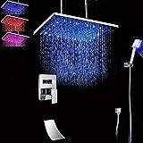 Jkckha 24'(60 cm) Montado en el techo LED Cabeza de ducha de lluvia cuadrada enorme Set de grifo de ducha Sistema de la bañera de cascada SPUT Hand Unit