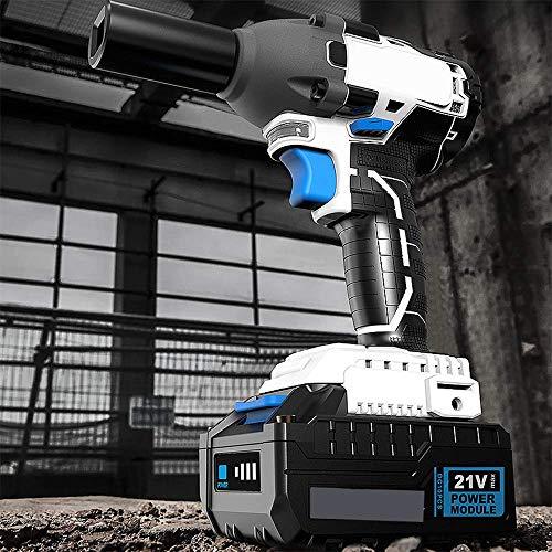 XDXDO Llave Dinamométrica Eléctrica Profesional Inalámbrica Portátil, con Juego De Vasos Y Convertidor, Par: 530 NM, Velocidad: 3200 RPM, Apta para Desmontaje