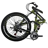 Folding Mountain Bike 26 inch for Women and Men Adult Bicycle G6 (Green)