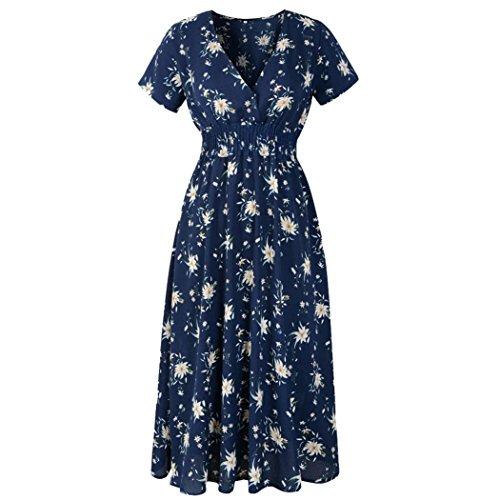 VEMOW Sommer Elegant Damen V-Ausschnitt Urlaub Blumendruck Kleid Casual Täglichen Urlaub Business Arbeit Beach Party Dress(Marine 2, 44 DE / 2XL CN)