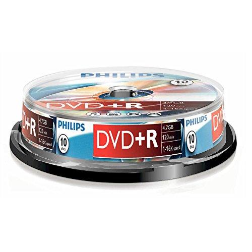 Philips DVD+R Rohlinge (4.7 GB Data/ 120 Minuten Video, 16x High Speed Aufnahme, 10er Spindel)