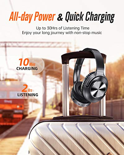 Active Noise Cancelling Headphones  Bluetooth Headphones Over Ear with Microphone Wireless Headset Hi-Fi Stereo Deep Bass  for Travel Work TV PC Cellphones 3