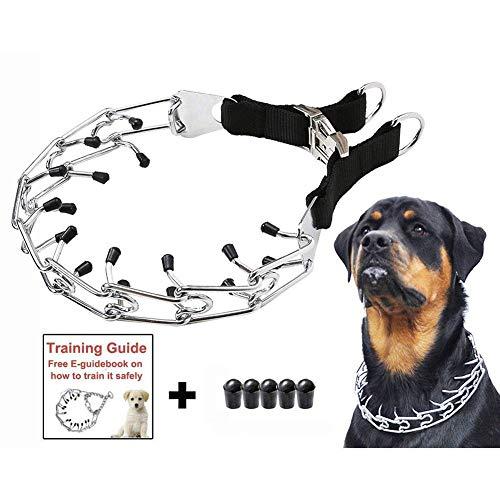 starter Collar Pinchos Perro,Collar Adiestramiento Perros - Collar De Cadena De Estimulación Especial para Perros De Entrenamiento con Cubierta Negra (A)