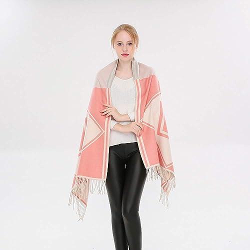 ERQINGWJ écharpe voiturerée Longue écharpe Géométrique Brillante Mode Féminine avec des Glands dans Le Rouge Chaud De Pastèque