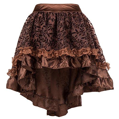 Bslingerie® Falda corta para mujer, estilo gótico, punk, steampunk, marrón, XXXL