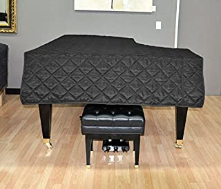 Yamaha C3 Piano Cover - Quilted Black Nylon with Side Splits