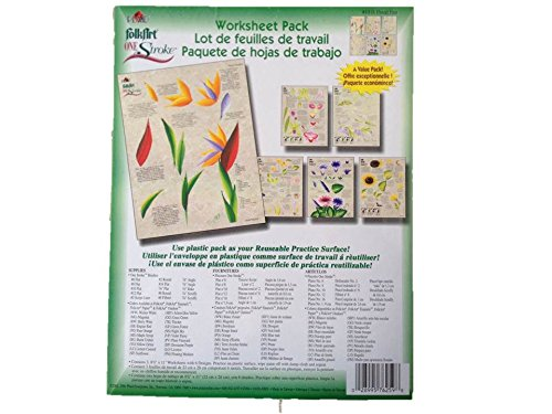 1018 Floral Fun One Stroke Reusable Painting Teaching Guide Worksheet Pack