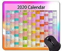 2020カレンダーカスタムオリジナルマウスパッド、カラフルなテーマラバーマウスパッド