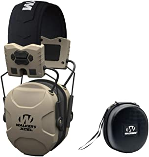 Walkers XCEL 100 Digital Electronic Shooting Hearing Protection Muff with Voice Clarity, and Protective Case Bundle