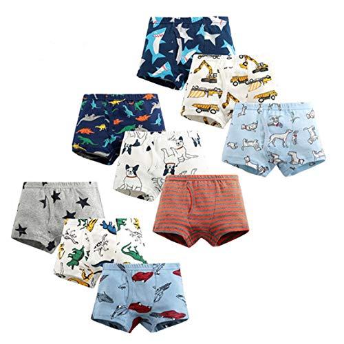Ecloud Shop 9 Stück Kinder Jungen Boxershorts Baumwolle Cartoon-Muster Unterwäsche für Jungen Slips Komfort und weich Kinderunterwäsche (Höhe:100cm)