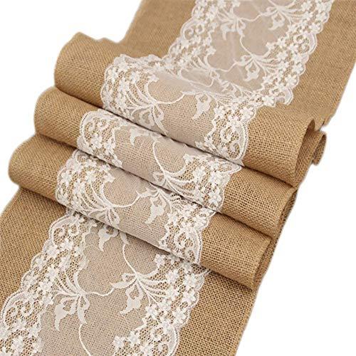 Chemin de table chemin de table en toile de jute rustique Burlap pour mariage, festival, décoration de table 30 x 275 cm (2 pcs)