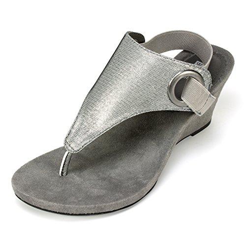 WHITE MOUNTAIN Damen AIDA Antique Silver Size 6.5 Keilabsatz-Sandale, silberfarben antik-optik, 37 EU