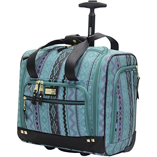Steve Madden Designer 15 Inch Carry on Suitcase- Small Weekender Overnight Business Travel Luggage- Lightweight 2- Rolling Spinner Wheels Under Seat Bag for Women (Legends Teal)