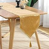 Runner da tavolo per balcone e FALCON, impermeabile, da tavolo, moderno, antimacchia, con nappa, per casa, feste di Natale, ristoranti, Cotone Lino, Gold-UK, 180x35