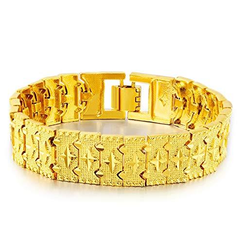 Geel gouden heren zandgouden armband van 21 cm ketting lengte, 24 K mannen gouden domineering horloge gesp, prachtig cadeau voor verjaardag, jubileum, Valentijn en Kerstmis