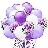 TOPWINRR 60 Stück Helium Party Ballon Hochzeit Deko Luftballons Geburtstag Kinder Latex Konfetti Ballons Dekoration, Lila Hellviolett Weiß