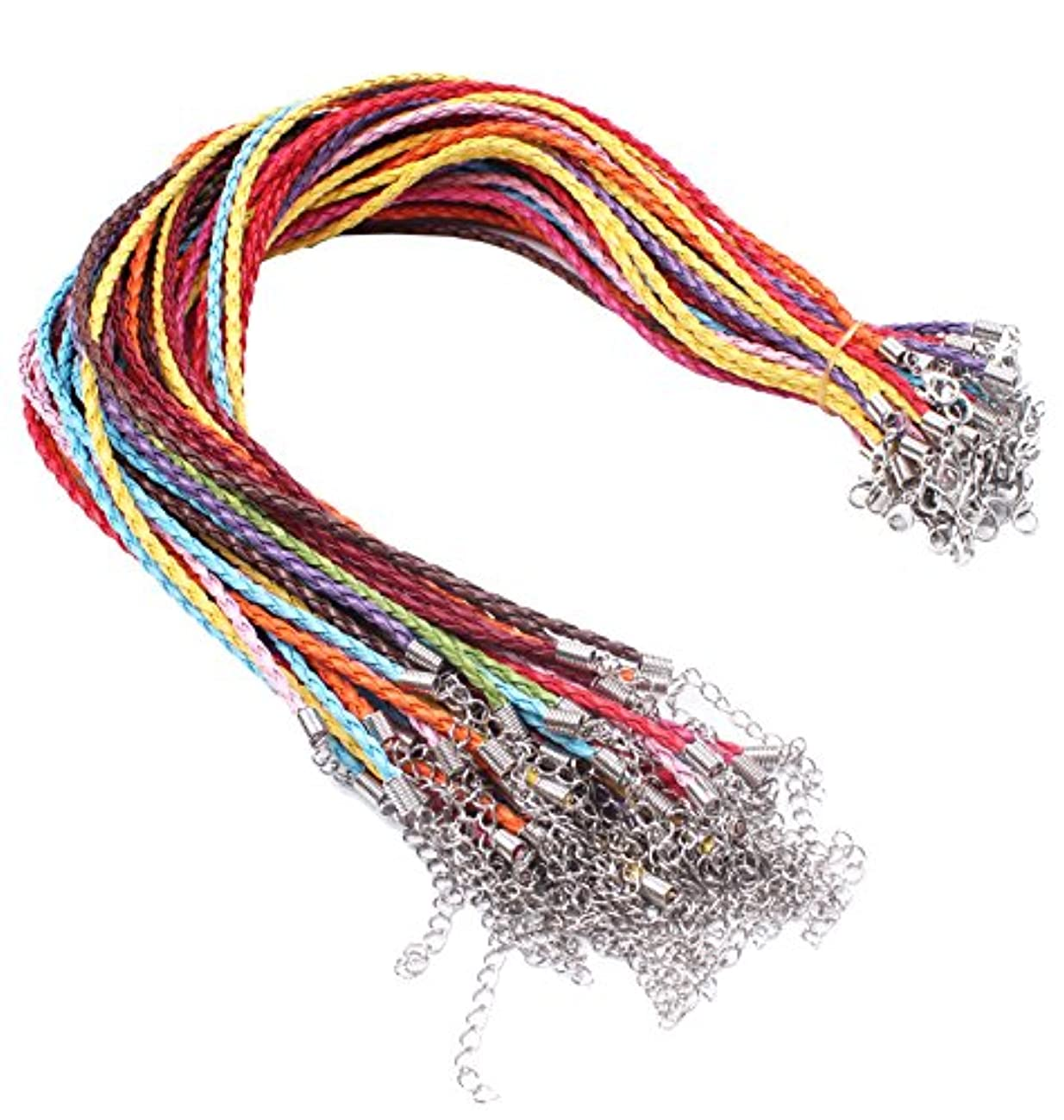 BIHRTC Pack of 50 Mixed Color DIY Jewelry Making Leather Plaited Necklaces Cords Ropes with Lobster Claw Clasp Extended Chain for Charms Jewelry Making