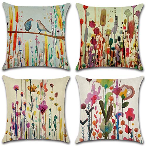 ZeoJard 4 Pack Watercolor Flower Birds Throw Pillow Case Square Cotton Linen Vintage Floral Pillowcase for Sofa Bed Home Decor 18 X 18 Inches