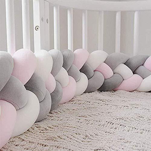 Oyfel Protector Cuna Bebe Trenza Parachoques Cuna 4 trenzada 2M/3M Protector de Cabeza para Cuna Bebe Parachoques de Cama(3M, Gris + rosa + blanco)