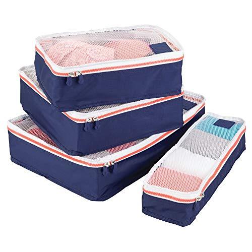 mDesign Juego de 4 cajas de almacenamiento con cremallera – Bolsas de tela o bolsas de viaje para maletas o bolsos – Bolsas con cierre y malla de poliéster transpirable – azul marino, blanco y naranja