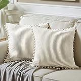 Fancy Homi - Juego de 2 fundas de almohada decorativas suaves de pana con pompones, diseño cuadrado sólido para sofá, dormitorio, coche, sala de estar