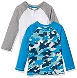 Amazon Essentials 2-Pack Boys Long-Sleeve Henley Shirt Camisa, Paquete de 2 Camuflaje Azul, L