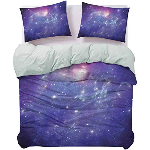 Quilt Cover Set Nebula Gas Cloud Dust Spiral Expanse Planet Galaxy System Milky Way Inspired All-Purpose Bedding Sets Wrinkle/Fade Resistant Breathable Machine Washable Navy Purple, Queen Size