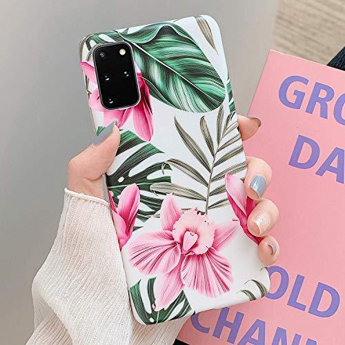 Herbests Kompatibel mit Samsung Galaxy S20 Plus Handyhülle Blumen Blätter Motiv Muster Ultra Dünn TPU Schutzhülle Silikon Handyhülle Stoßfest Antikratz Case Cover Silikon Bumper,Rosa Blumen