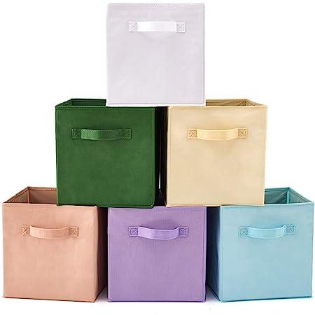 EZOWare Boîtes de Rangement Ouvertes en Textile Non-Tissé, Tiroir en Tissu, Pack de 6, pour Linge, Jouets, Vêtement, Disques DVD etc. (Couleur Assortie 1)