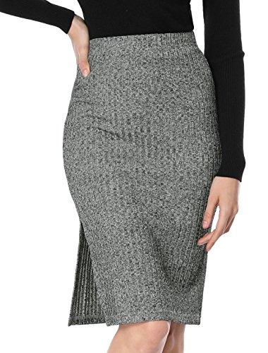 Allegra K Women's Stretchy Ribbed Knit Skirt Knee Length Slit Bodycon Pencil Skirt Gray M