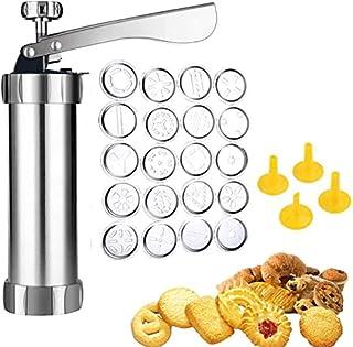 Presses à Biscuits en Acier Inoxydable,Kit de pistolet à biscuits,pour Bricolage Biscuit Maker et décoration,avec 20 Moule...