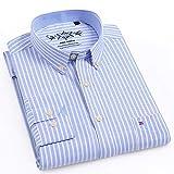 Camisas A Rayas para Hombre, Manga Larga, Ajuste Regular, Oxford, Fácil Cuidado, Camisas Casuales para Hombre, Camisetas De Ocio Multicolores con Bolsillo