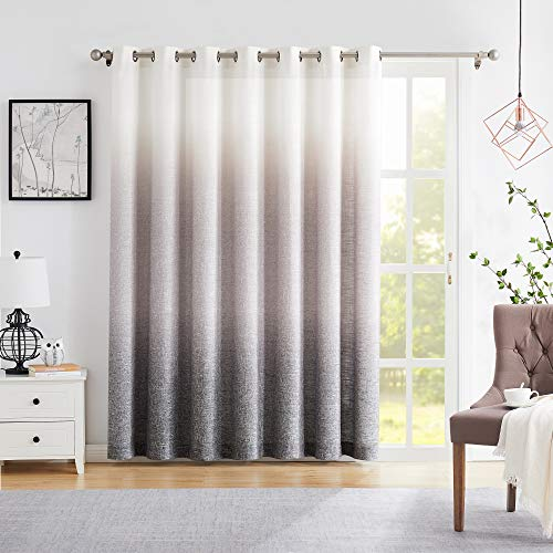 "Central Park Ombre Window Door Curtain 100"" Extra Wide Linen Ombre Gradient Print on Rayon Blend Fabric Treatment for Sliding Patio Door with 14 Grommets,Cream White to Gray,100"" x 84"", 1 Panel"