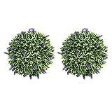 Yardwe künstliche Lavendel Kugel Topiary Ball Kunststoff Pflanze Kugel für Hinterhof Hochzeit Geburtstag Weihnachten Halloween Party Hängende Dekoration Ornament Gartendeko 2 Stück