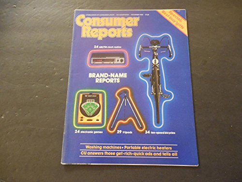 Consumer Reports Nov 1980 Electronic Games; Bicycles; Washing Machines
