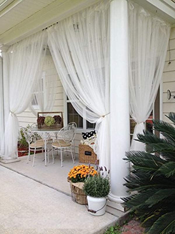 2 Panels Sheer Lace Curtains 110x98 Each Great Indoor Outdoor Porch Wedding White