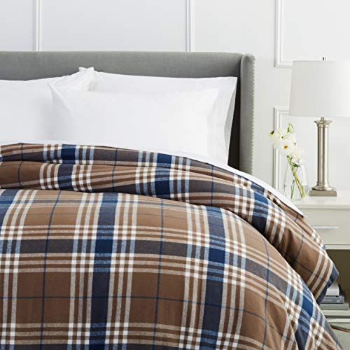 Pinzon Plaid Flannel Duvet Cover - Full or Queen, Brown Plaid