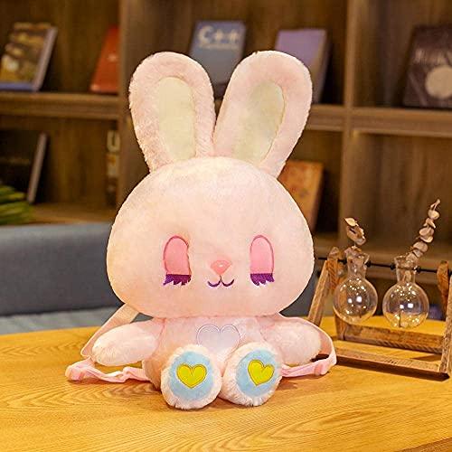 XINQ 50 cm Schöne Kaninchen Rucksack Plüschtiere Gefüllte Tierkaninchen Schultasche Geburtstagsgeschenke für Kinder Baby Mädchen Weiß (Color : Pink)