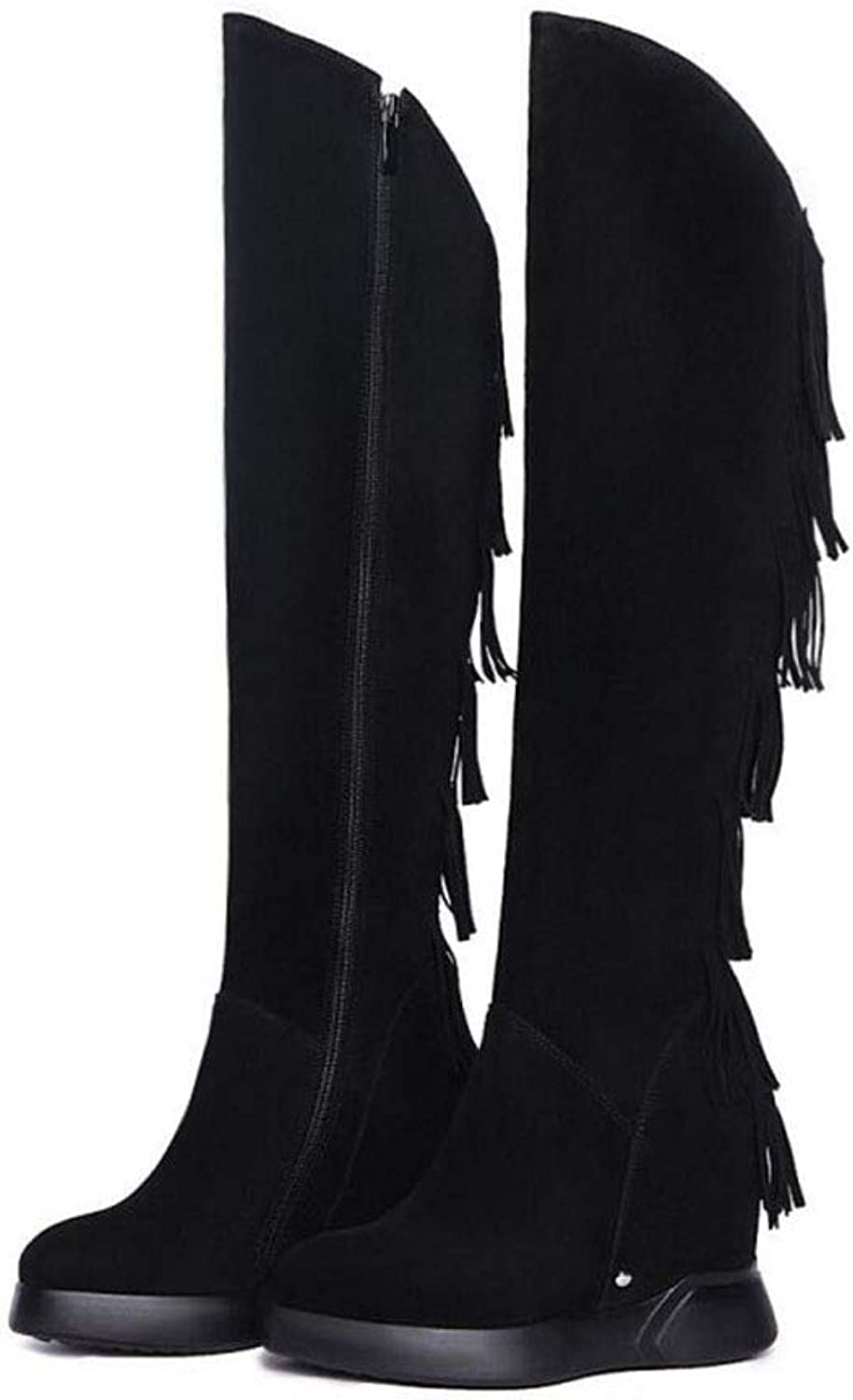 Women's Long Boots, Fall Winter Scrub Leather Wedge Tassel Boots, Increased Knee Boots, High Boots (color   Black, Size   36)