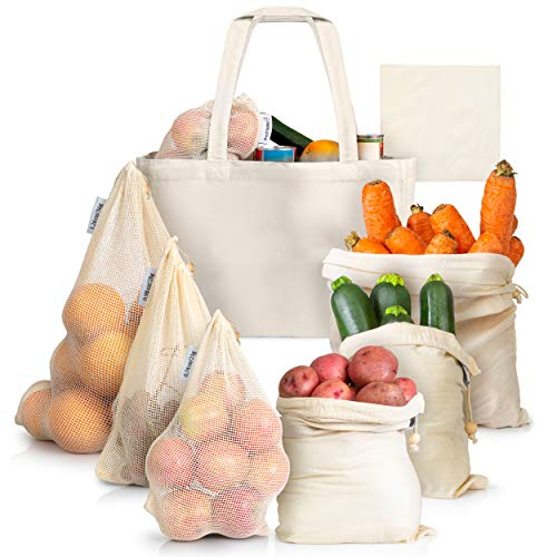 ArmStrong Reusable Produce Bags - Plastic-Free Grocery Bag Bulk Set - Eco-Friendly - Vegetable and F
