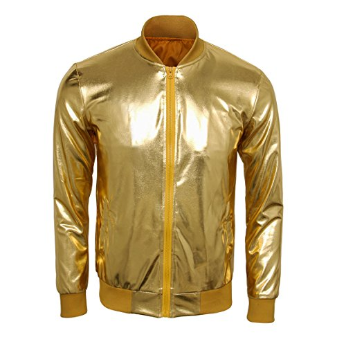 Cusfull Baseball Jacke Metallic Glänzend Nightclub Party Tanzen Casual Kostüm Mit Reißverschluss Up Fashion Bomber Jacke(L Gold)