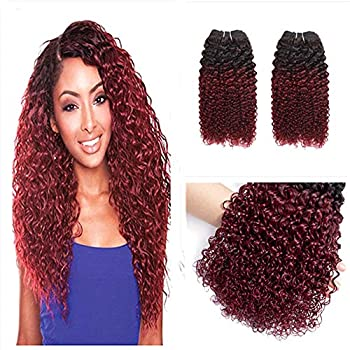 Anruina Human Hair curly weave 3 Bundle 100% unprocessed Jerry Curl Hair Extensions  1B/99J 10 12 14Inch