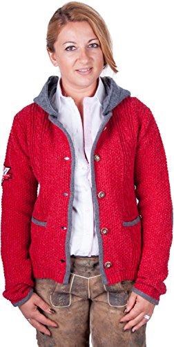 Almwerk Damen Strick Jacke Antonia mit Abnehmbarer Kapuze, Größe Damen:XL - Größe 42;Farbe:Rot/Grau