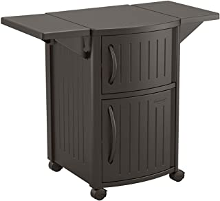 Suncast Outdoor Grilling Prep Station - Portable Outdoor BBQ Entertainment Storage Table Prep Station - Store Grilling Accessories, Condiments - Java